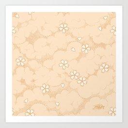 Kumori Nochi Sakura: Orange Art Print