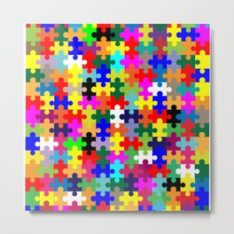 Jigsaw Pieces In Colour Metal Print