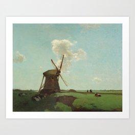 Workers near a wind mill in a Dutch polder landscape Art Print