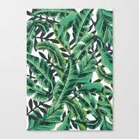 green Canvas Prints featuring Tropical Glam Banana Leaf Print by Nikki