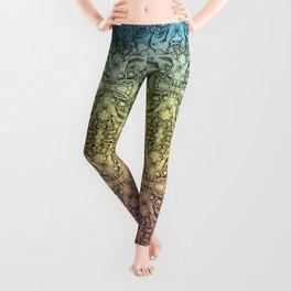 Colorful Gradient Floral Doodle Pattern Leggings