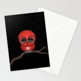 Baby Owl with Glasses and Hong Kong Flag Stationery Cards