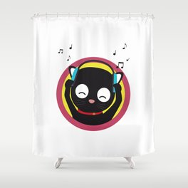 Cat with headphones hears music Shower Curtain