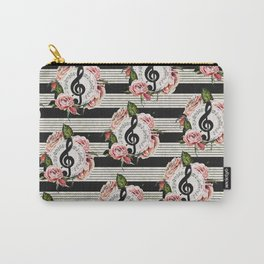 Musical Treble Clef with Watercolor Roses Pattern Carry-All Pouch
