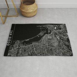 San Diego Black Map Rug
