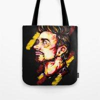 stark Tote Bags featuring Tony Stark by AlysIndigo