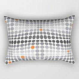 Dottywave - Grey and orange wave dots pattern Rectangular Pillow