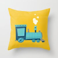 train Throw Pillows featuring Train by KatieDaugherty