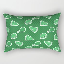 Pizza Burgers and Fried Chicken Time Picnic on Green Rectangular Pillow