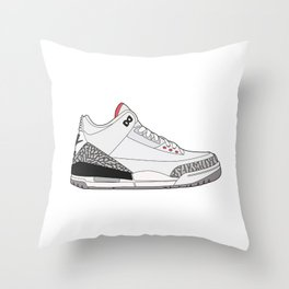 Jordan 3 - White Cement Throw Pillow