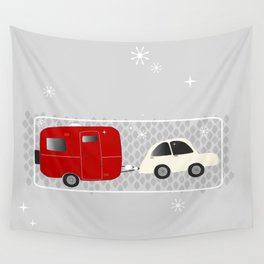 vintage trailer in red Wall Tapestry