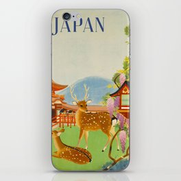 Vintage Mid Century Modern Japan Travel Poster Deer Red Pagoda Wisteria Garden iPhone Skin