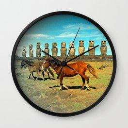 EASTER ISLAND SCENE Wall Clock