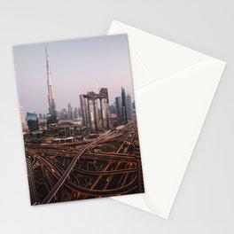 Dubai Skyline at Night   Travel Photography   Stationery Cards