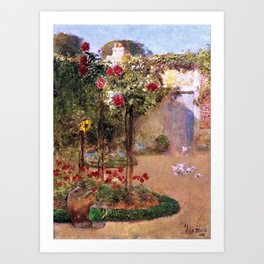 Classical Masterpiece 'The Rose Garden and Red Poppies' by Frederick Childe Hassam Art Print
