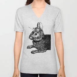 The Rabbit and Roses | Black and White Unisex V-Neck