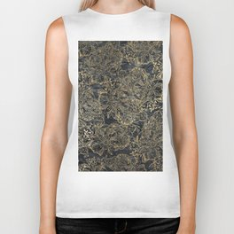 Glam black gray faux gold creased paper floral Biker Tank