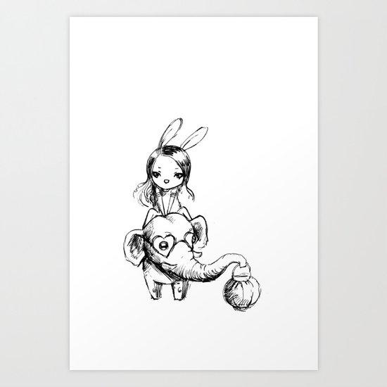 Stylish elephant and bunny girl Art Print