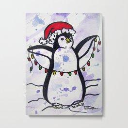 Penguin in Lights Metal Print