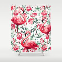 Flowers and Flamingos Shower Curtain