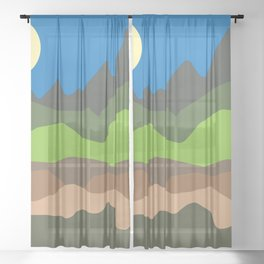 Green mountain tops Sheer Curtain