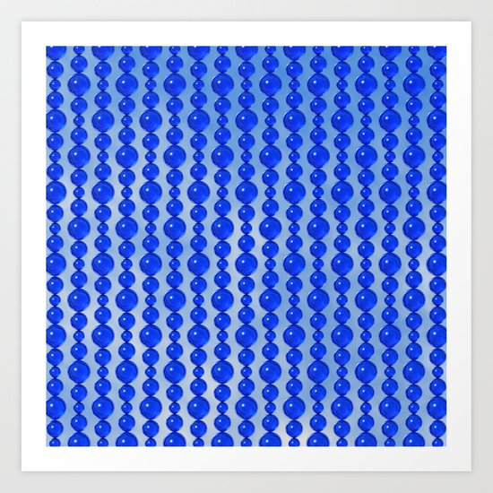 Bead Pattern, Blue on Blue Art Print