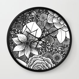 Nouveau Inspired Flowers Wall Clock