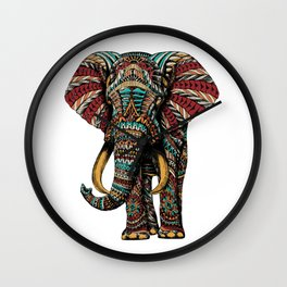 Ornate Elephant (Color Version) Wall Clock