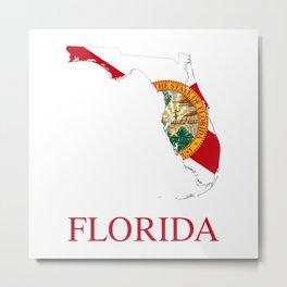 Florida-flag-map Metal Print