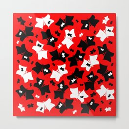 The pattern of butterflies. White and black butterfly on a red background. Metal Print