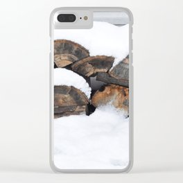 Snow Covered Wood Pile Clear iPhone Case