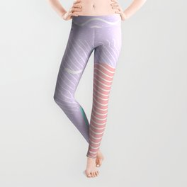 Memphis Summer Lavender Waves Leggings