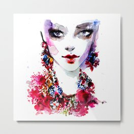 Red blue beauty fashion illustration Metal Print