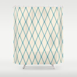 Nautical Fishing Net (Beige and Teal) Shower Curtain