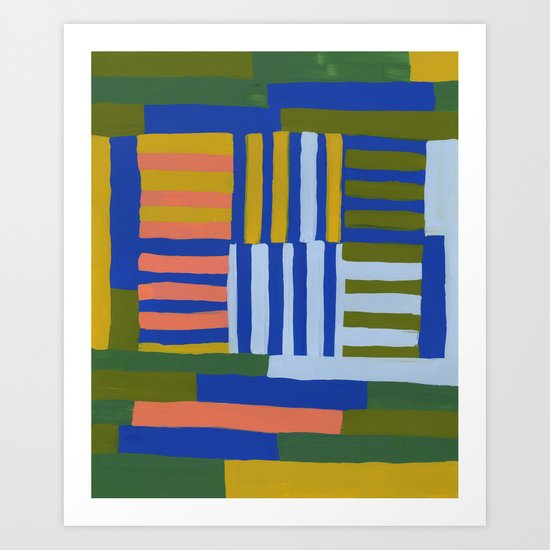 Painted Color Block Grid Art Print By Beckybailey1 Society6
