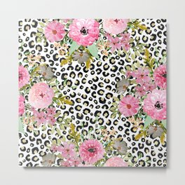 Elegant leopard print and floral design Metal Print