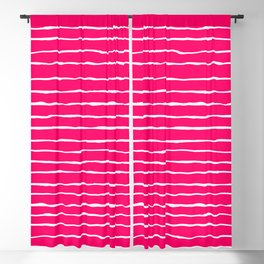 Bright Pink and White Stripes Blackout Curtain