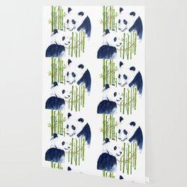 """Harmony"" Panda and Bamboo Watercolor Wallpaper"
