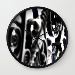Black and White Abstract Patterned Metal Gate Design Wall Clock