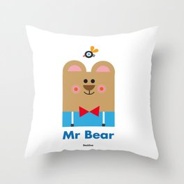 Mr Bear Throw Pillow