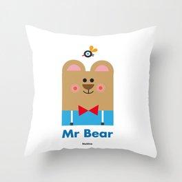 Mr Bear Throw Pillow