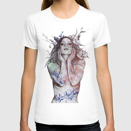 The Withering Spring: Wine (nude tattooed girl with flowers) T-shirt