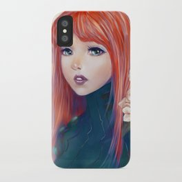 Captain Goldfish - Anime sci-fi girl with red hair portrait iPhone Case