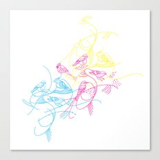 birds doodle in cmyk Canvas Print