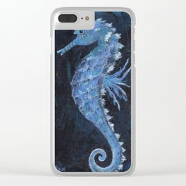 Blue Seahorse Clear iPhone Case