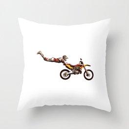 Motocross Stunt Jump Throw Pillow