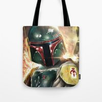 boba fett Tote Bags featuring Boba Fett by Mishel Robinadeh