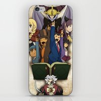 ace attorney iPhone & iPod Skins featuring Professor Layton vs. Ace Attorney by Kyra Draws