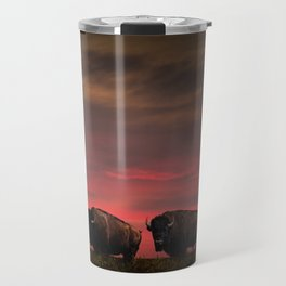 Two American Buffalo Bison at Sunset Travel Mug
