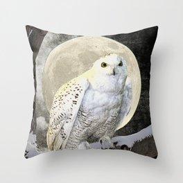 Rustic White Snowy Owl Bird Tree Moon Art A274 Throw Pillow